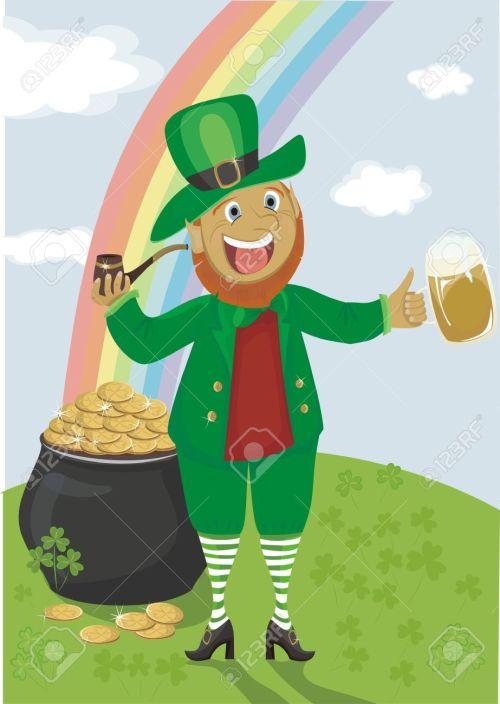 19156144-Leprechaun-with-a-pipe-and-beer-against-a-rainbow-and-pot-of-gold-Stock-Vector